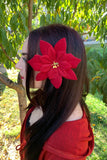 Dark Red Poinsettia Clip #F1028