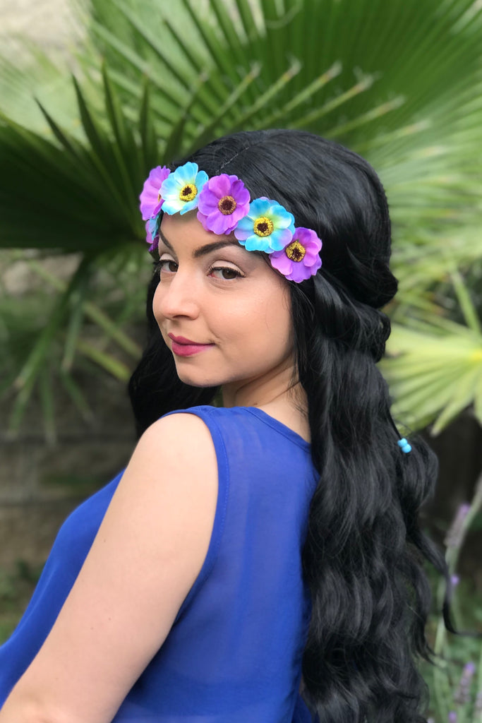 Blue & Purple Cherry Blossom Headband #C1111