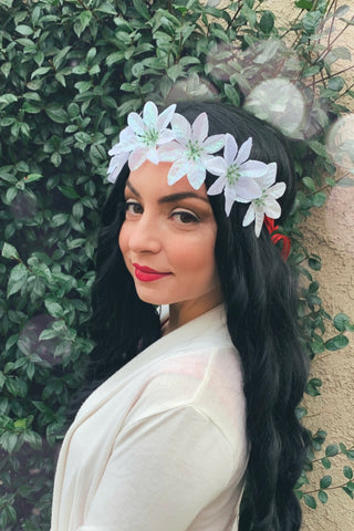 White Poinsettia Headband #C1125