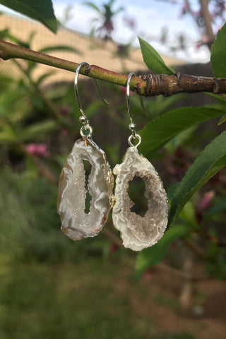 Grey Agate Crystal Earrings #H1043