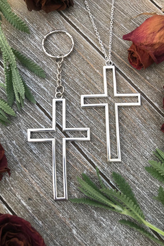 Silver Cross Key Chain #J1011