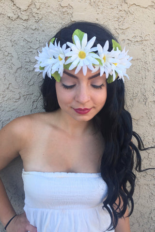 White Daisy Headband #C1086
