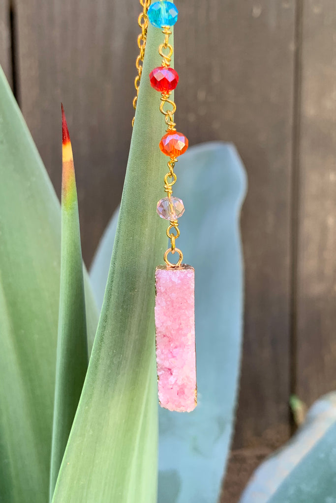 Pink Druzy Necklace #I1162