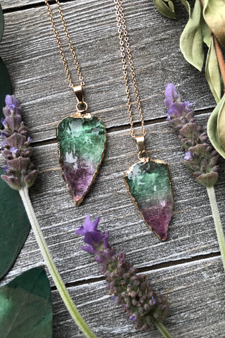 Purple & Green Crystal Necklace #I1050