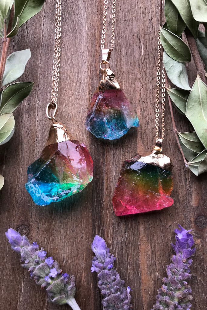 Rainbow Crystal Necklace #I1048