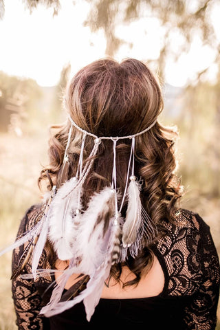 Grey Feather Headband #B1063