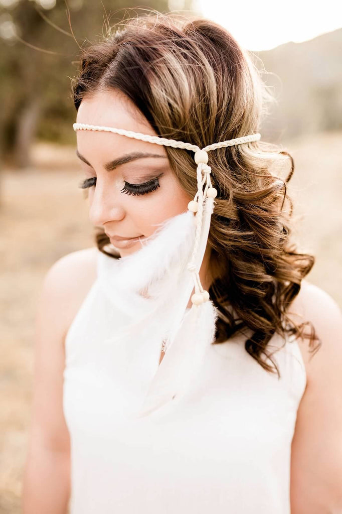 White Feather Headband #B1036