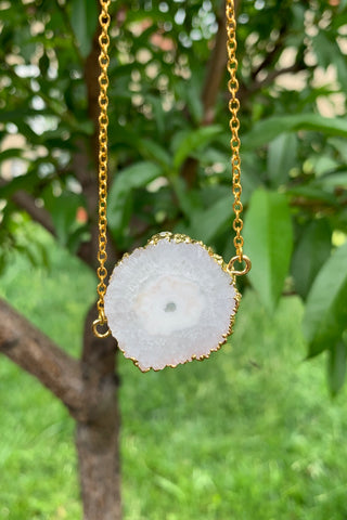 White Solar Quartz Necklace #I1179