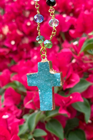 Aqua Blue Druzy Cross Necklace #I1215