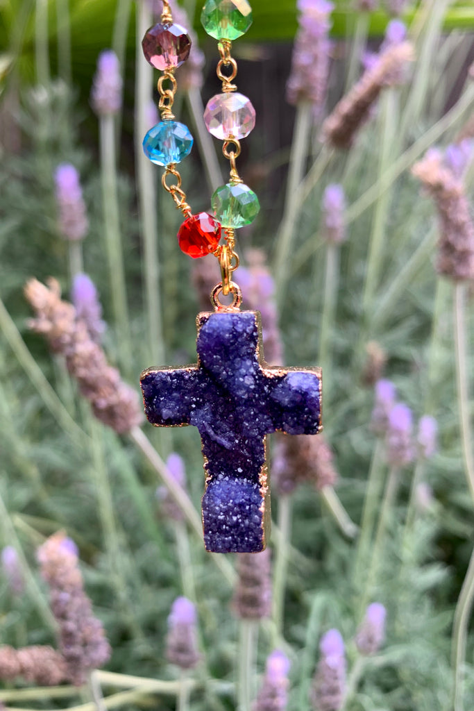 Purple Druzy Cross Necklace #I1216