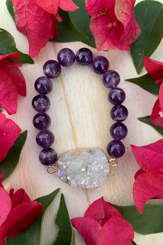 Chevron Dream Amethyst Bracelet #K1039