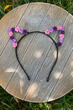 Purple & Pink Floral Cat Ears #E1013