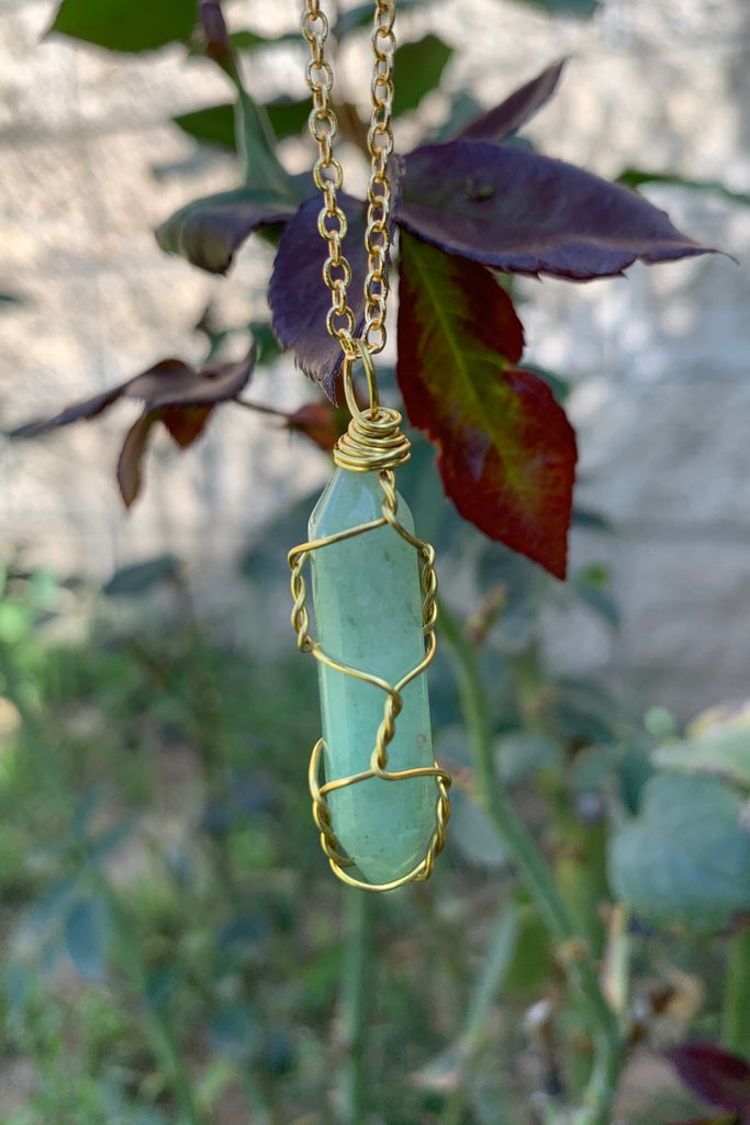 Green Aventurine Crystal Necklace #I1221