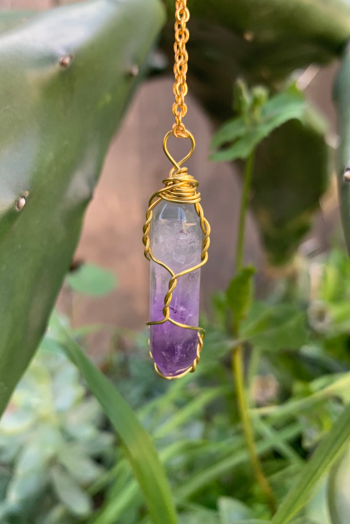 Amethyst Crystal Necklace #I1225