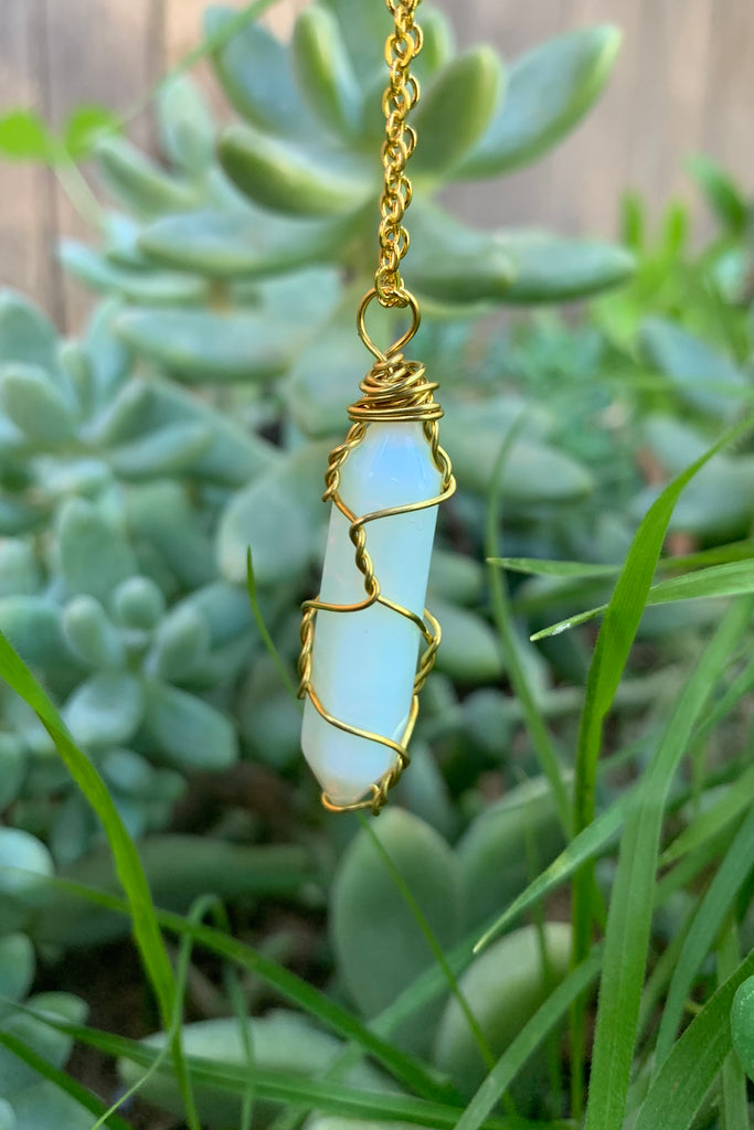 White Opalite Crystal Necklace #I1223