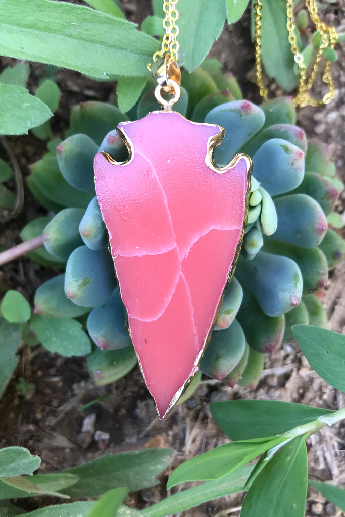 Red Orange Arrowhead Necklace #I1073