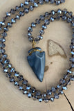 Grey Hematite Arrowhead Necklace #I1184