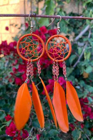 Orange Dreamcatcher Earrings #H1051