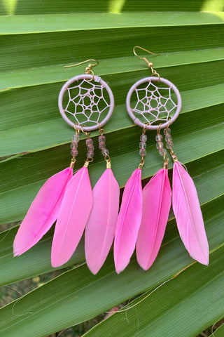 Pink Dreamcatcher Earrings #H1046