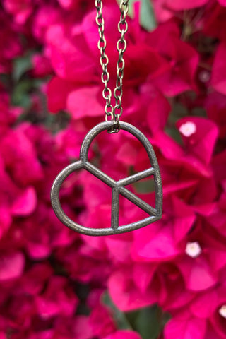 Bronze Peace Heart Necklace #I1232