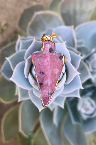 Pink Opal Arrowhead Necklace #I1212