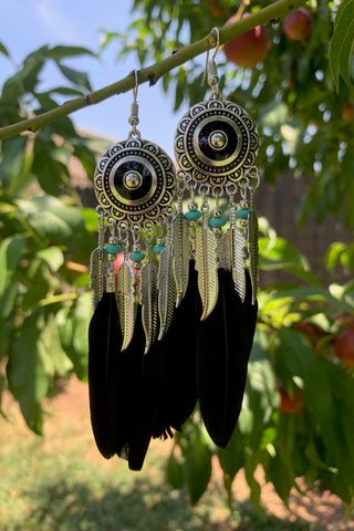 Ornate Black Feather Earrings #H1048