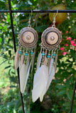 Ornate White Feather Earrings #H1047