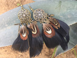 Black Feather Earrings #H1020