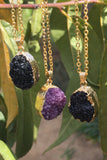 Black Druzy Necklace #I1033