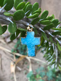 Blue Druzy Cross Necklace #I1068