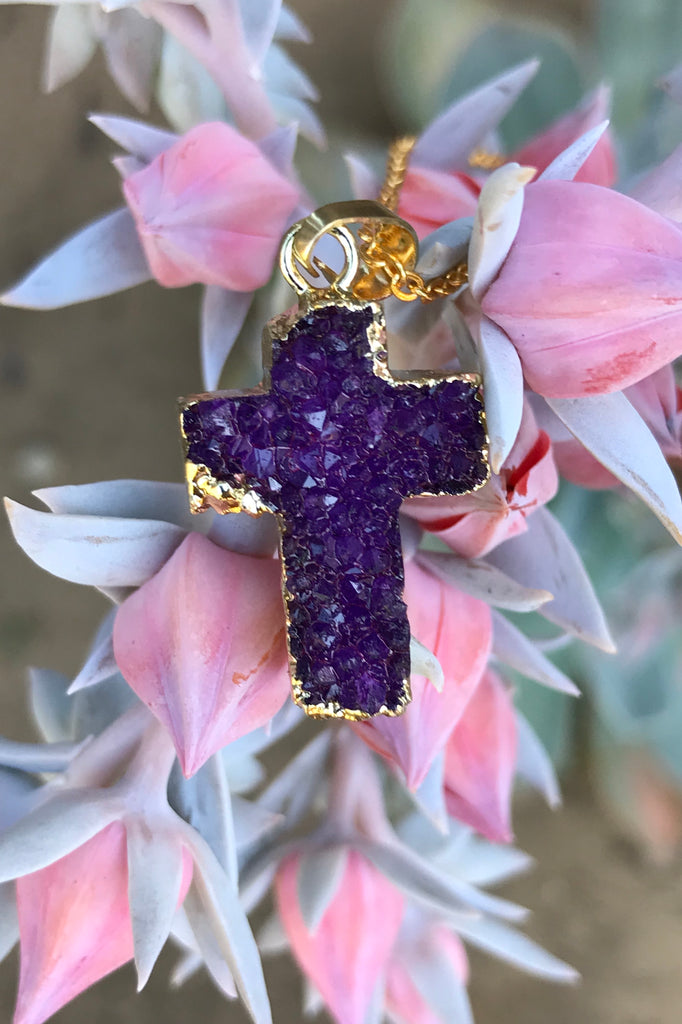 Purple Druzy Cross Necklace #I1069