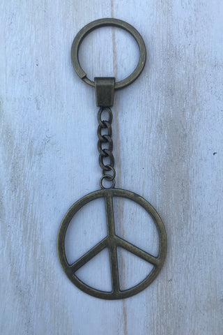 Bronze Peace Sign Key Chain #J1005