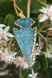 Aqua Druzy Arrowhead Necklace #I1013