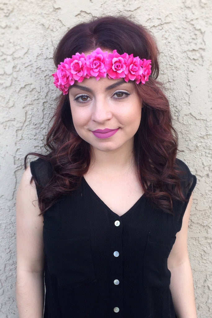 Fuchsia Rose Headband #C1081