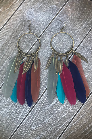 Antique Bronze Feather Earrings #H1033