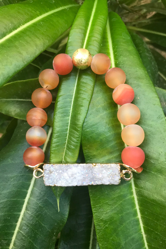 Orange Frosted Druzy Agate Bracelet #K1011