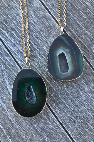 Green Agate Necklace #I1098