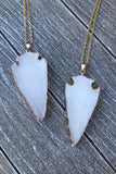 White Arrowhead Necklace #I1072