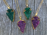 Green Druzy Arrowhead Necklace #I1079