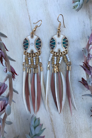 Ornate Feather Earrings #H1025