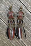Brown Feather Earrings #H1029