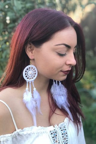 White Dreamcatcher Earrings #H1026