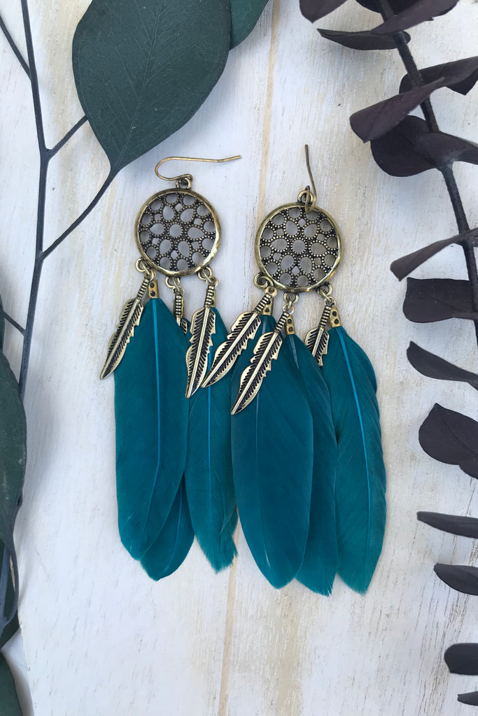 Teal Feather Earrings #H1034