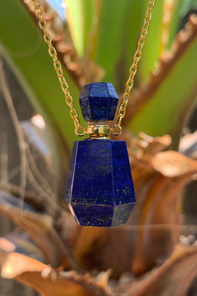 Lapis Perfume Bottle Necklace #I1245