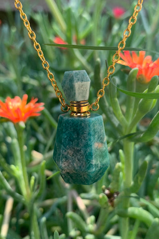 Amazonite Perfume Bottle Necklace #I1244