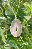 Gold Agate Slice Necklace #I1203