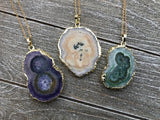 Green Stalactite Agate Necklace #I1086