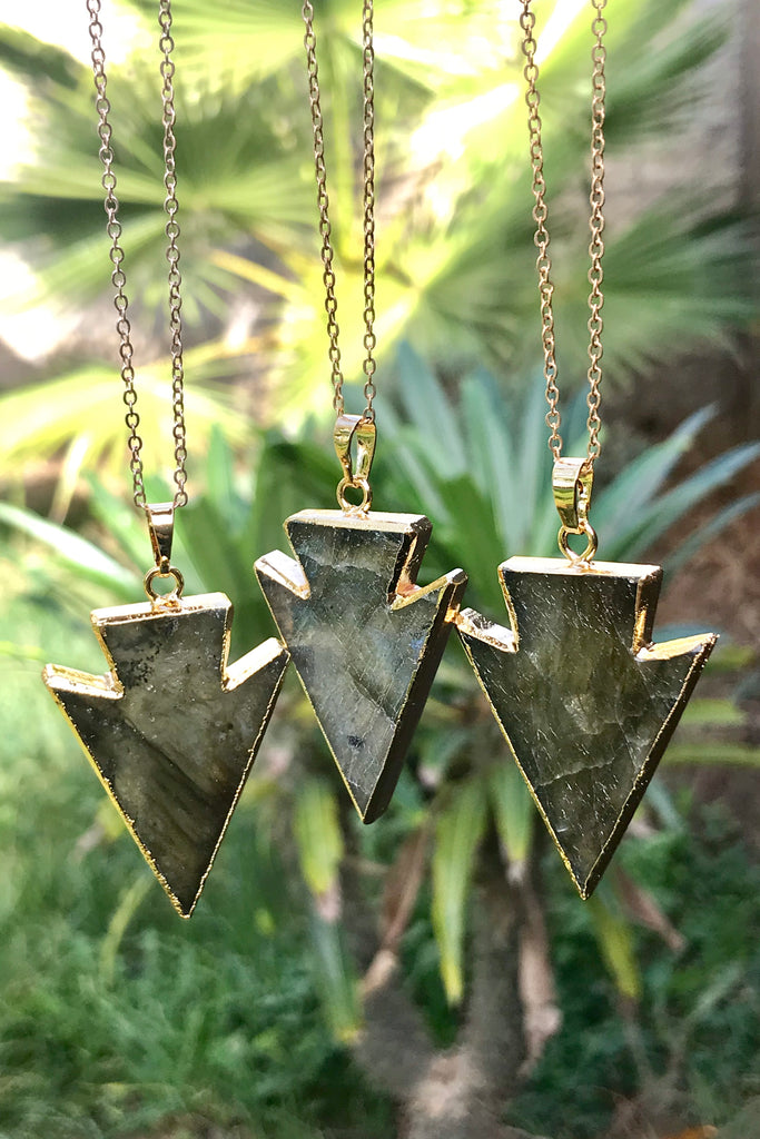 Labradorite Arrowhead Necklace #I1110