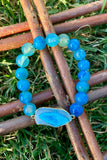 Blue Dragon Vein & Blue Agate Bracelet #K1013
