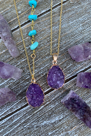 Purple Druzy Necklace #I1209